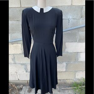 Black silk dress with white collar padded shoulder